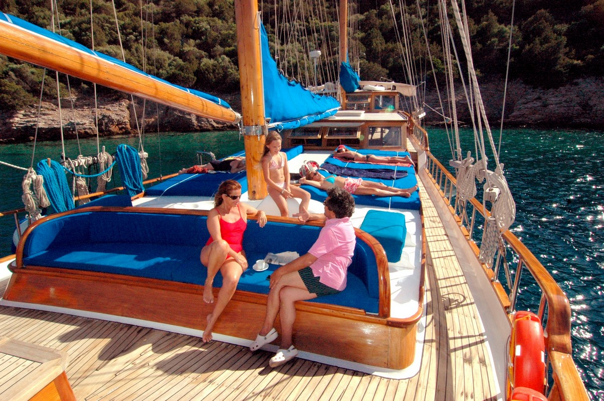 Traditional Greek wooden hull sailing yacht